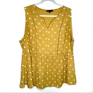 Lane Bryant yellow polka dot sleeveless blouse 20